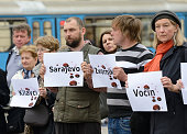 ZAGREB March 31 2016 Croatian peace activists stage a protest against the acquittal of Serbian Radical Party leader Vojislav Seselj for war crimes at...
