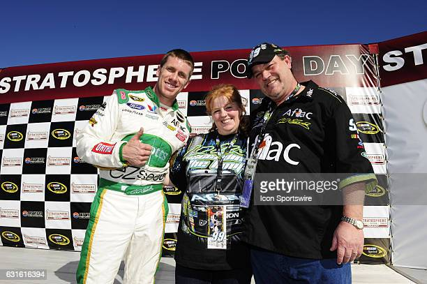 Carl Edwards Roush Fenway Racing Aflac Ford Fusion participates in a wedding as a best man during practice for the Kobalt Tools 400 NASCAR Sprint Cup...