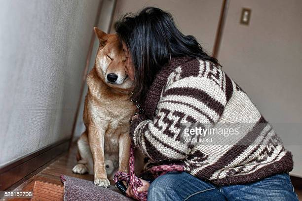 March 4 at Kirikiri Otsuchi Iwate Japan Yuko Ueyama 54 years old kiss her dog before go out walking the dog The celibacy Yuko named the 2yearold...