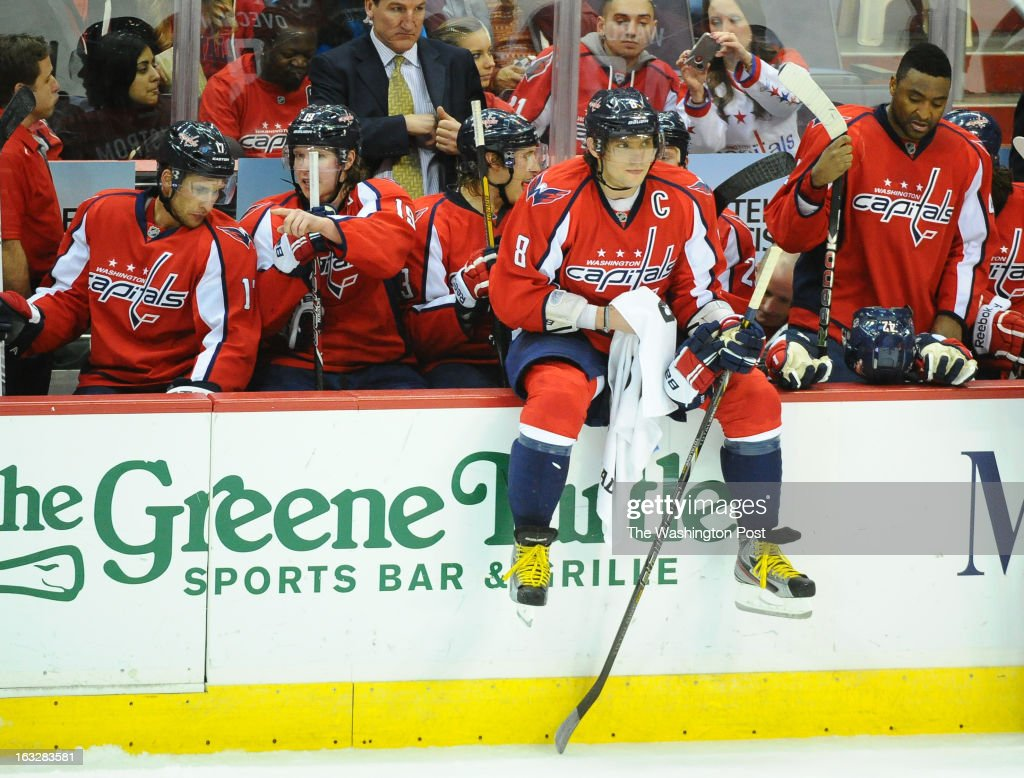 Washington Capitals left wing Alex Ovechkin (8) during a 3rd period timeout against the Boston Bruins on March 5, 2013 in Washington, DC