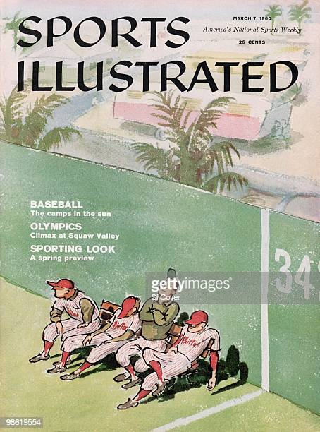 Baseball Illustration of Philadelphia Phillies players during spring training painting by Art Department New York NY 1/1/19603/7/1960 CREDIT March...