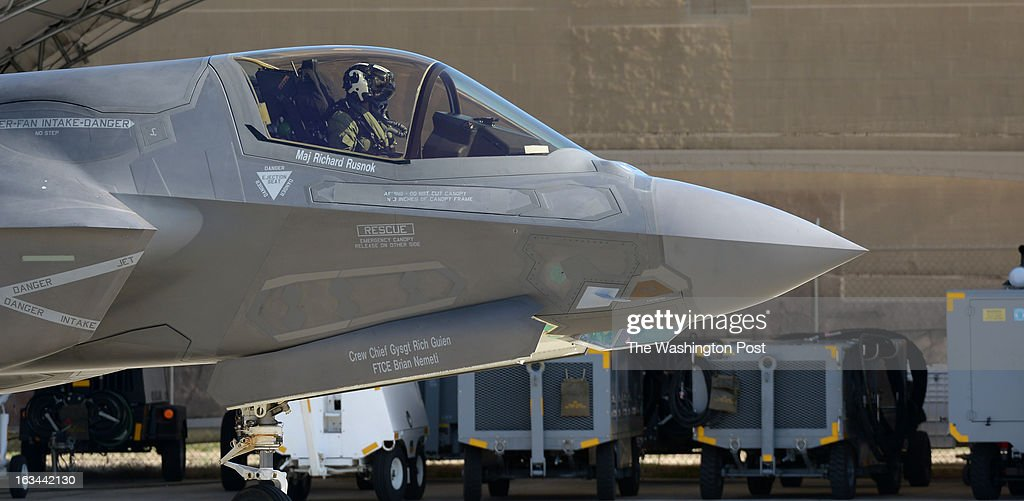 U.S. Marine Corps test pilot Maj. Richard Rusnok taxies out in his F-35B Lightning II aircraft BF-4p prior to a test flight at Naval Air Station Patuxent River on March 7, 2013 in Patuxent, MD