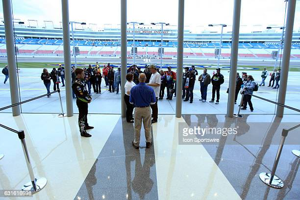 Carl Edwards Roush Fenway Racing Ford Fusion attends the wedding of Thomas Bensing and Kathy Webber inside the Las Vegas Motor Speedway Media Center...