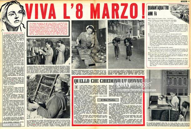 double page for the International Women's Day from 'Lavoro ' illustrated weekly magazine of the CGIL March 8 1952