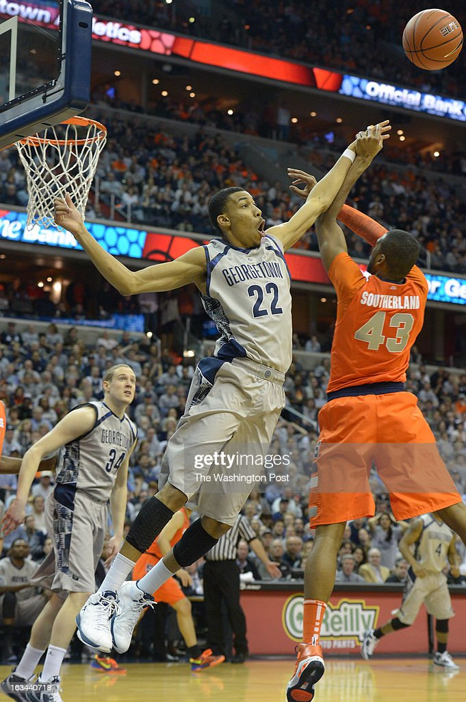 Georgetown forward Otto Porter Jr. (22) battles Syracuse forward James Southerland (43) for a rebound during 2nd half action on March 9, 2013 in Washington, DC