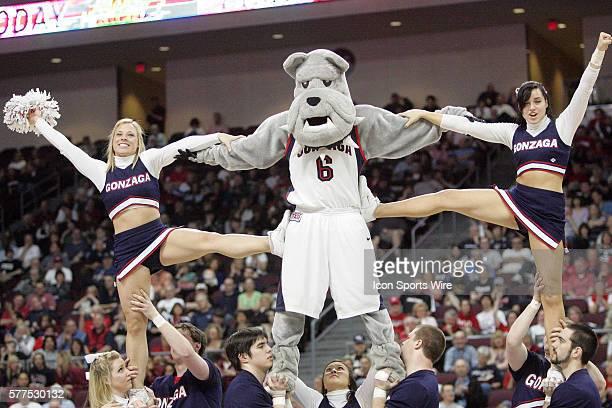 Gonzaga University Bulldogs NCAA West Coast Conference cheerleaders and Gonzaga mascot