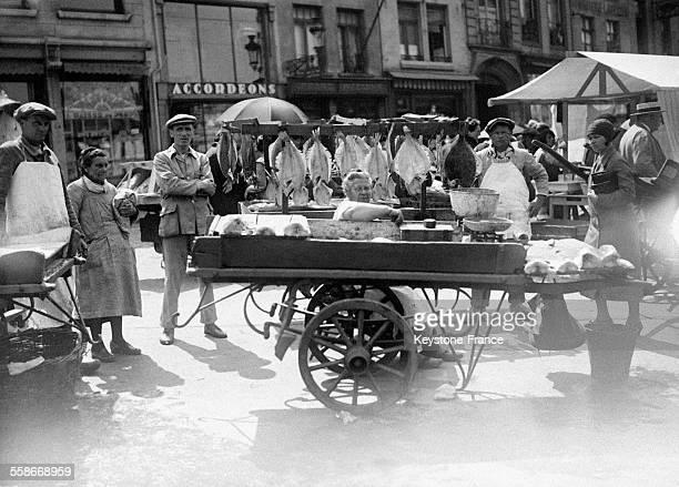 Marché aux poissons circa 1930 à Bruxelles Belgique