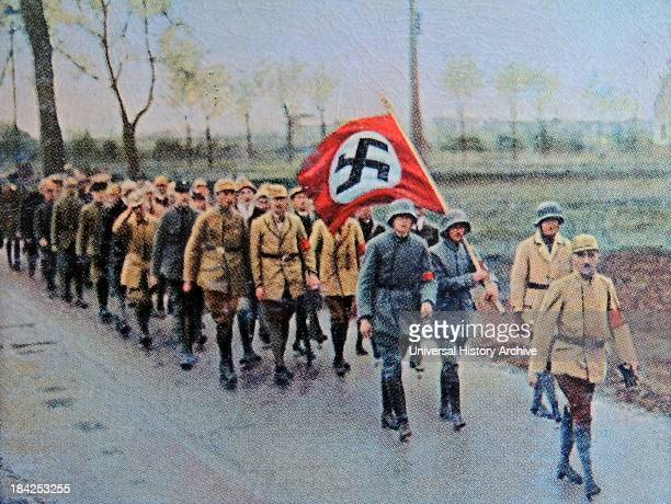 March by nazi members and soldiers Munich Germany 1923