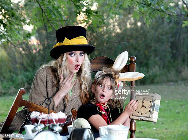March Hare and Mad Hatter with clocks