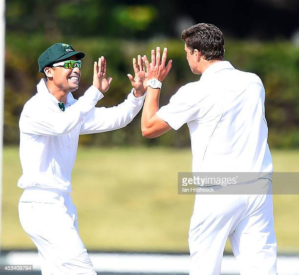 Marchant de Lange 9r of South Africa 'A' celebrates the wicket of Callum Ferguson of Austrlia 'A' during the match between Australia 'A' and South...