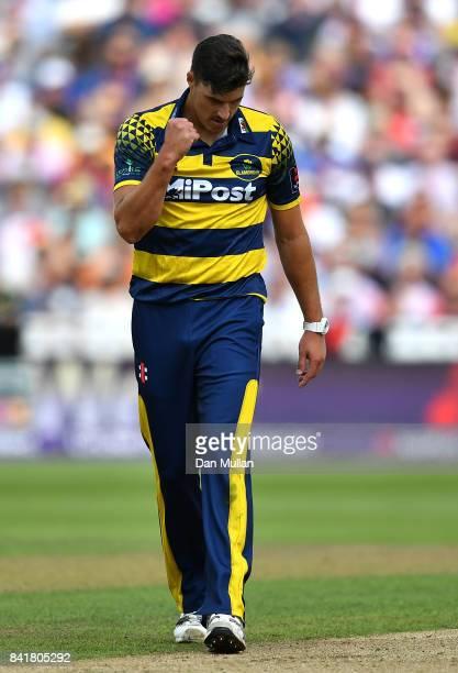 Marchant de Lange of Glamorgan celebrates after dismissing Colin de Grandhomme of Birmingham during the NatWest T20 Blast SemiFinal match between...