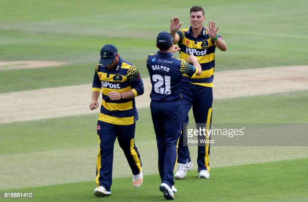 Marchant de Lange of Glamorgan celebrates taking the wicket of Tom Westley during the Essex v Glamorgan NatWest T20 Blast cricket match at the...