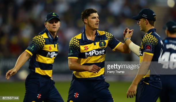 Marchant de Lange of Glamorgan celebrates the wicket of Thisara Perera of Gloucestershire during the NatWest T20 Blast match between Gloucestershire...