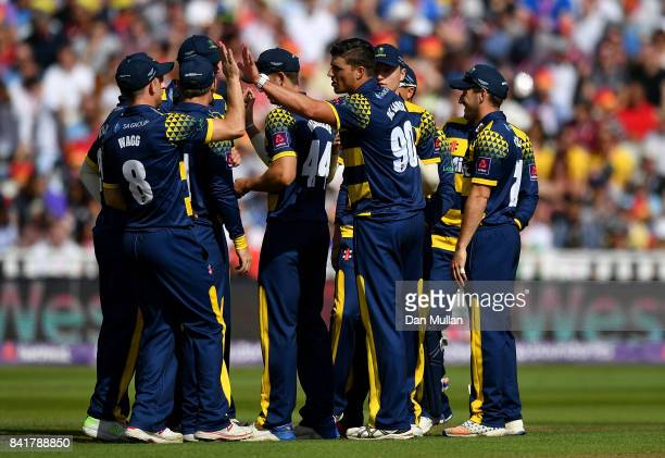 Marchant de Lange of Glamorgan celebrates with team mates after dismissing Ed Pollock of Birmingham Bears during the NatWest T20 Blast SemiFinal...