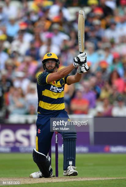Marchant de Lange of Glamorgan in action during the NatWest T20 Blast SemiFinal match between Birmingham Bears and Glamorgan at Edgbaston on...