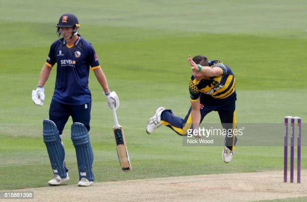 Marchant de Lange of Glamorgan in bowling action during the Essex v Glamorgan NatWest T20 Blast cricket match at the Cloudfm County Ground on July 16...