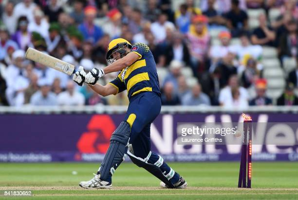 Marchant de Lange of Glamorgan is bowled by Oli Stone of Birmingham during the NatWest T20 Blast SemiFinal match between Birmingham Bears and...