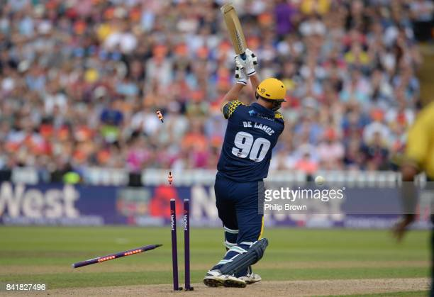 Marchant de Lange of Glamorgan is bowled during the Natwest T20 Blast semifinal match between Birmingham and Glamorgan at Edgbaston cricket ground on...