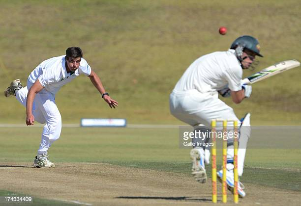Marchant de Lange of South Africa A bowls during day 1 of the 1st Test match between South Africa A and Australia A at Tuks Oval on July 24 2013 in...