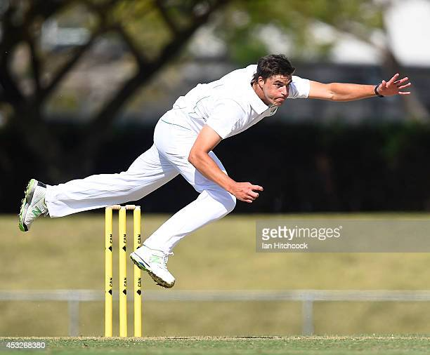Marchant de Lange of South Africa 'A' bowls during the match between Australia 'A' and South Africa 'A' at Tony Ireland Stadium on August 7 2014 in...