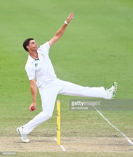 Marchant de Lange of South Africa 'A' bowls during the match between Australia 'A' and South Africa 'A' at Tony Ireland Stadium on August 9 2014 in...