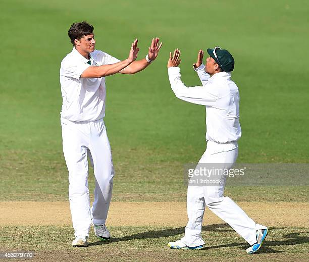 Marchant de Lange of South Africa 'A' celebrates the dismissal of Gurinder Sandu of Australia 'A' during the match between Australia 'A' and South...
