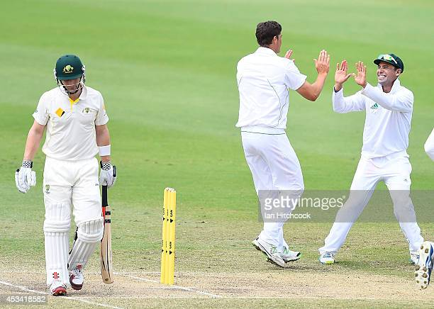 Marchant de Lange of South Africa 'A' celebrates the dismissal of Peter Nevill of Austrlia 'A' during the match between Australia 'A' and South...