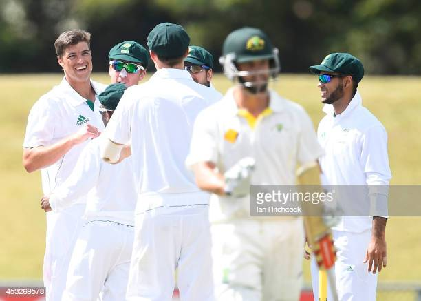 Marchant de Lange of South Africa 'A' celebrates the wicket of Callum Ferguson of Australia 'A' during the match between Australia 'A' and South...