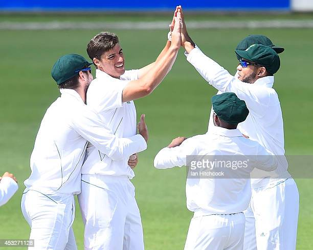 Marchant de Lange of South Africa 'A' celebrates the wicket of Tom Cooper of Australia 'A' during the match between Australia 'A' and South Africa...