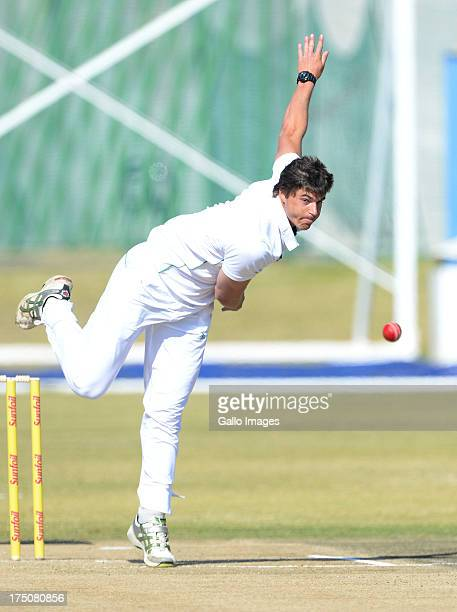 Marchant de Lange of South Africa bowls during day 1 of the second test match between South Africa A and Australia A at Olympia Park Cricket Ground...