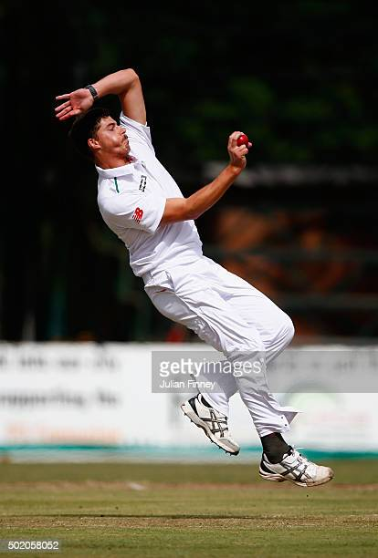 Marchant de Lange of South Africa bowls during day one of the tour match between South Africa A and England at City Oval on December 20 2015 in...