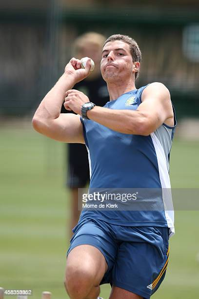 Marchant de Lange of South Africa runs in to bowl during a South African T20 training sessin at Adelaide Oval on November 4 2014 in Adelaide Australia