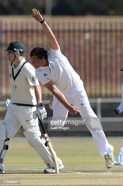 Marchant de Lange of South Africa sends off a delivery during day 1 of the second test match between South Africa A and Australia A at Olympia Park...