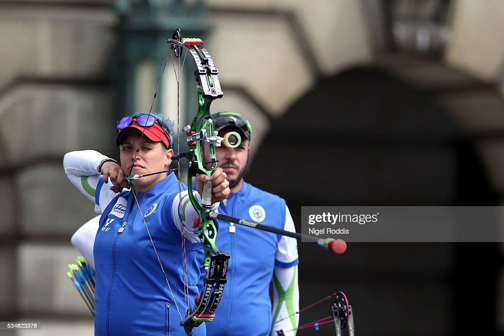 Marchella Tonioli of Italy shoots during the Mixed Compound Team Gold medal team match at the European Archery Championship on May 28, 2016 in Nottingham, England.