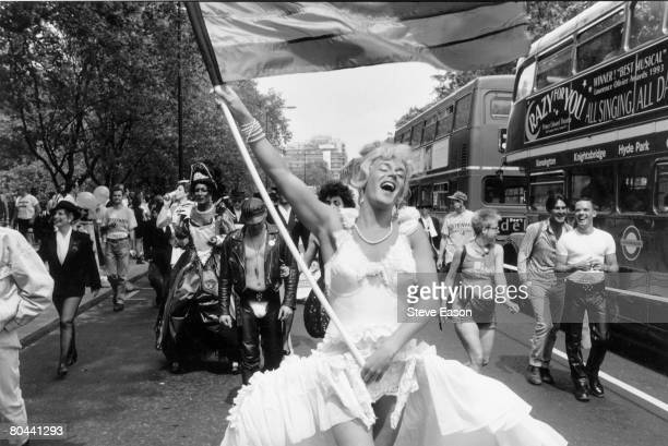 A marcher dressed as Marilyn Monroe during the annual Gay Pride march in London July 1994