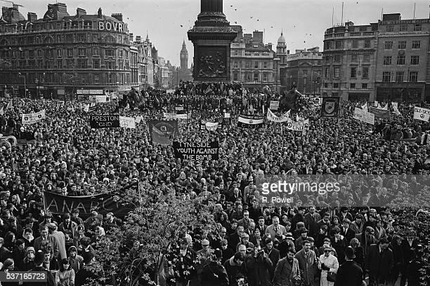 CND marchers and anarchists clash during a demonstration against the Vietnam War Trafalgar Square London 27th March 1967