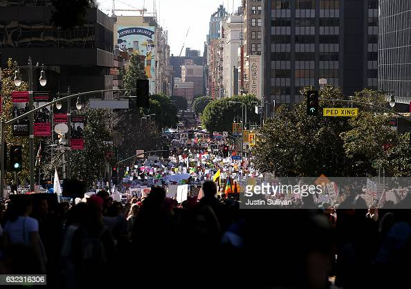 Marchers fill Hill Street during the Women's March on January 21 2017 in Los Angeles California Tens of thousands of people took to the streets of...