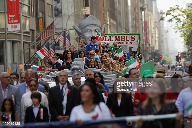 Marchers make their way down Fifth Avenue during the 67th annual Columbus Day Parade on October 10 2011 in New York City The annual celebration of...
