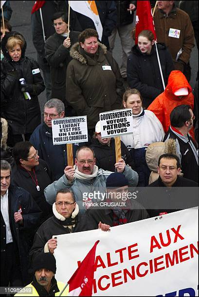 Marchers rally in Roubaix to protest against 'labor disaster' in the north east of France after closing of several plants in the area in Roubaix...