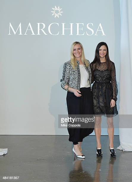 Marchesa Fashion designers Keren Craig and actress Georgina Chapman attend the Marchesa Spring 2015 Bridal collection show at Canoe Studios on April...
