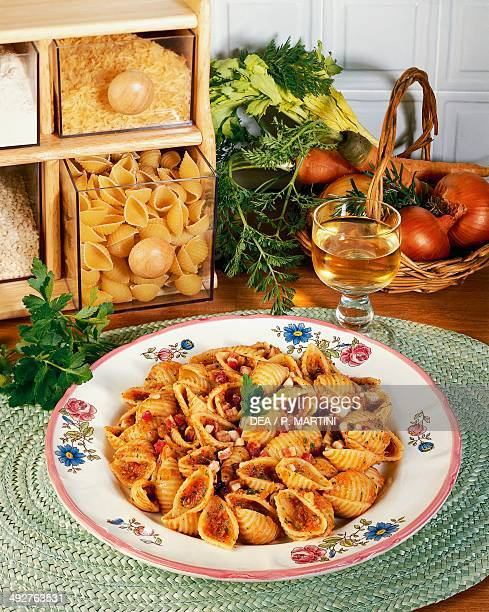 Marchestyle conchiglie with celery carrots and smoked bacon