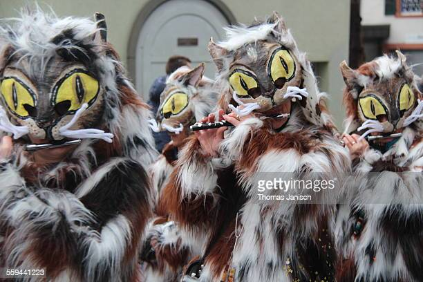 Marching band dressed up as cats playing piccolo flutes Carneval of Basle Switzerland