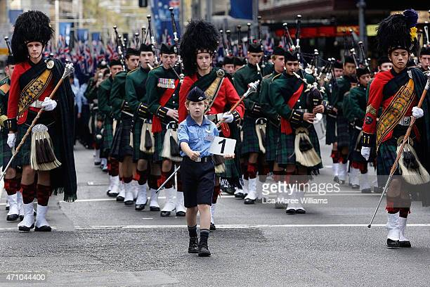 A marching band makes its way along George Street during the Anzac Day Parade on April 25 2015 in Sydney Australia Australians are celebrating the...