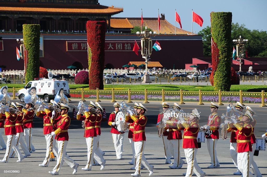Marching band perform during an official welcome ceremony for Indian President prior to a meeting of Indian President Pranab Mukherjee and China's President Xi Jinping in Beijing, China on May 26, 2016.