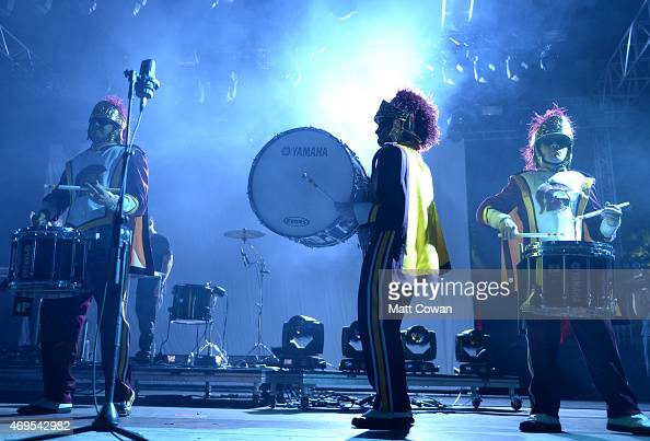 USC marching band performs onstage with ODESZA during day 3 of the 2015 Coachella Valley Music Arts Festival at the Empire Polo Club on April 12 2015...