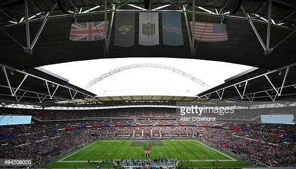 A marching band performs prior to the start of the match during the NFL game between Jacksonville Jaguars and Buffalo Bills at Wembley Stadium on...