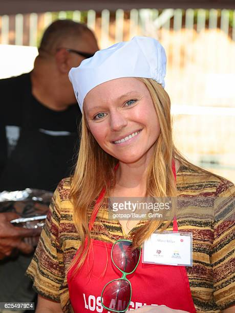 Marci Miller is seen at LA Mission Thanksgiving Dinner for the homeless on November 23 2016 in Los Angeles California
