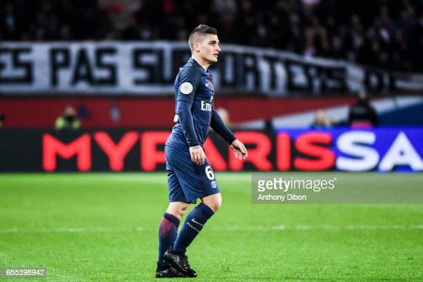 Marci Verratti of PSG during the French Ligue 1 match between Paris Saint Germain and Lyon at Parc des Princes on March 19 2017 in Paris France