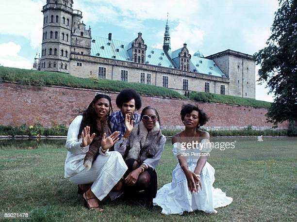 Marcia Barrett Bobby Farrell Maizie Williams and Liz Mitchell from pop group Boney M posed in front of Elsinore Castle Denmark in 1978