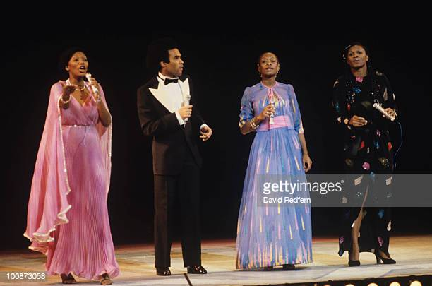 Marcia Barrett Bobby Farrell Maizie Williams and Liz Mitchell of Boney M perform on stage at the Royal Variety Show in November 1979